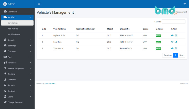 Tính năng quản lý phương tiện của phần mềm